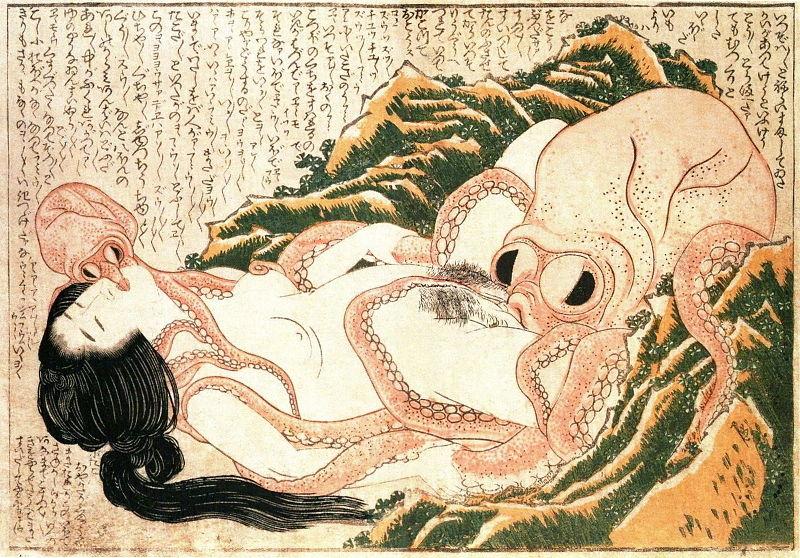 """""""El sueño de la esposa del pescador"""", Katsushika Hokusai, 1814"""
