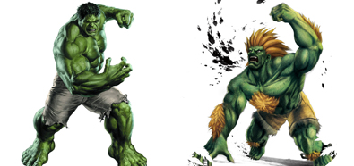 Hulk y Blanka de Street Fighters