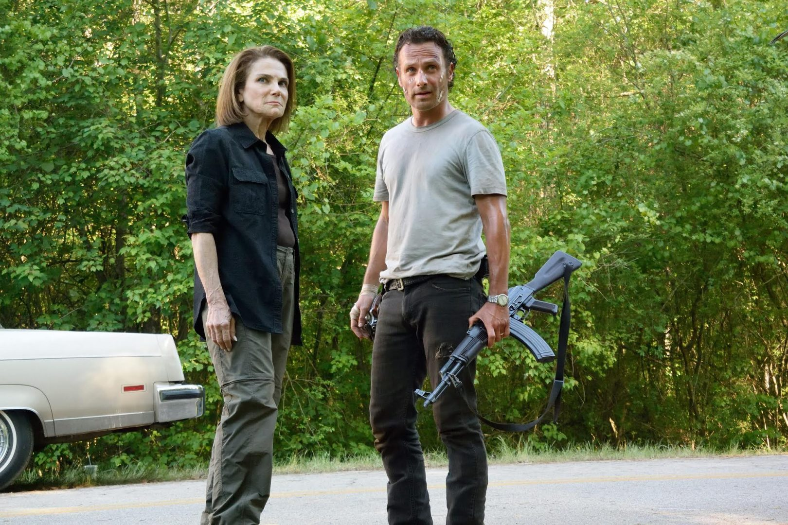 Tovah Feldshuh as Deanna Monroe and Andrew Lincoln as Rick Grimes - The Walking Dead _ Season 6, Episode 1 - Photo Credit: Gene Page/AMC
