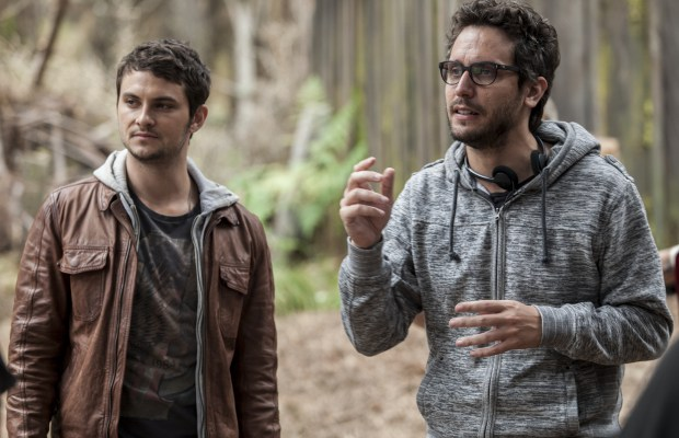 Shiloh Fernandez and Director Fede Alvarez on the set of TriStar Pictures' horror EVIL DEAD.